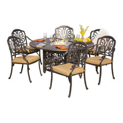 Lakeview Outdoor Designs - Rosedown 6-Person Cast Aluminum Patio Dining Set With Fire Pit Table - The Rosedown collection from Lakeview Outdoor Designs adds sophistication to any outdoor area. This 7-piece dining set features an intricate floral design with generous seats designed for maximum comfort. The dining chairs include 3-inch thick linen sesame cushions made from all-weather Sunbrella fabric which resists fading, moisture and mildew. Each piece in this set has a hand crafted, cast aluminum frame that is welded for premium durability and capped with non-marking leveling feet on the bottom for additional support. The powder-coated, antique bronze aluminum finish is rust resistant and cleans up easily with mild soap and water. Dimensions (in inches): Fire Pit Table: 60 W X 60 D X 29 H. Dining Chairs: 25 W X 26 3/8 D X 36 H. Seat Height: 16.