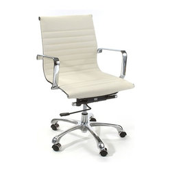 "Fine Mod Imports - Eames Style Modern Conference Office Chair Mid Back White - This modern mid-back office chair offers a unique design and comfort all in one package, making it a must-have for your contemporary office. A modern conference or office chair that looks great in any office or home based workstation. This contemporary chair is perfect for any office environment. Chrome plated steel frame 5 star base with casters. Tilt-lock leatherette seat and back. Seat-height is adjustable from 18"" to 21""High. Tilt-tension removable arms. Some assembly required."