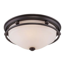 Savoy House - Savoy House Flush Mount Flush Mount Ceiling Fixture in English Bronze - Shown in picture: English Bronze Finish with White Etched Glass