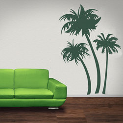 WallStar Graphics - WallStar Graphics Tropical Palm Trees Wall Decal - A new way to decorate. Give your home a tropical makeover with the Wall Star Graphics Tropical Palm Tree Wall Decal sticks to all smooth and semi-smooth surfaces. Each vinyl graphic features three palm trees and is considered semi-permanent, making it easy to stick and remove without ruining your walls - innovative and easy decorating on a budget!Available in six colors: black, dark green, lime green, pink, turquoise, and whiteDecal shown in dark green in image, wall color is paintedCannot be repositioned or reused once removedPremium-cut vinyl with matte finishMade to order