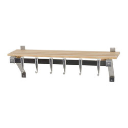 """Concept Housewares - 30"""" Wall Rack, Natural Wood/Stainless Steel - Dimensions: 30""""W x 4""""D x 2""""H"""