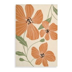 Nourison - Nourison Fantasy Poppies Rug in Ivory - Bright orange poppies in an oversized print make this wonderful rug a colorful addition to any room in your home. The warm colors and modern pattern liven up any color scheme.