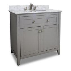 "Hardware Resources - VAN102-36-T 36"" Grey Chatham Shaker Vanity with Top and Bowl in Grey - 36"" Grey Chatham Shaker Vanity with Top and Bowl by Hardware Resources"