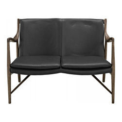 Modway Imports - Modway EEI-1664-WAL-BLK Makeshift Leather Loveseat In Walnut Black - Modway EEI-1664-WAL-BLK Makeshift Leather Loveseat In Walnut Black