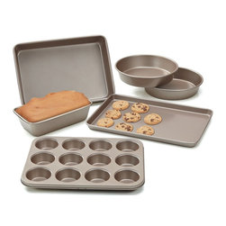 Cook N Home - Cook N Home 6-Piece Heavy Gauge Non-Stick Bakeware, Bronze - What's in box:
