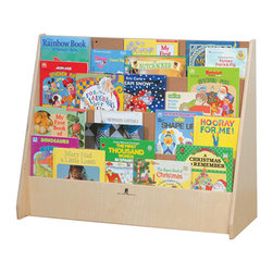 Steffywood - Steffywood Kids Playroom Big Book Storage Cabinet Display Shelf Stand Unit - Four shelf book display is designed to hold big books. Each book pocket is five inches deep. Sturdy glue and dowel construction. Tough clear UV finish.