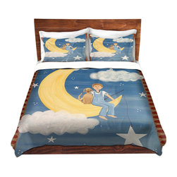 DiaNoche Designs - Duvet Cover Microfiber - Fly Me To the Moon - Super lightweight and extremely soft Premium Microfiber Duvet Cover in sizes Twin, Queen, King.  This duvet is designed to wash upon arrival for maximum softness.   Each duvet starts by looming the fabric and cutting to the size ordered.  The Image is printed and your Duvet Cover is meticulously sewn together with ties in each corner and a hidden zip closure.  All in the USA!!  Poly top with a Cotton Poly underside.  Dye Sublimation printing permanently adheres the ink to the material for long life and durability. Printed top, cream colored bottom, Machine Washable, Product may vary slightly from image.