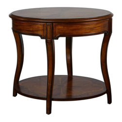 Uttermost - Uttermost Corianne Round Lamp Table 24231 - Expert inlay of cedar burl, cherry, primavera and mahogany veneers on carved, solid basswood with glowing, hand rubbed pecan finish.