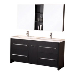Design Elements - Perfecta 63 Double Sink Vanity Set in Espresso - The 63 Perfecta double-sink vanity is uniquely designed and constructed of solid hardwood. The unique curved basins of the integrated rectangular sinksand white acrylic countertop beautifully contrast with the sharp lines of the espresso cabinetry. This sophisticated design includes four pullout drawers and a soft-closing cabinet door, all finished with satin nickel hardware. Two soft-closing mirrored medicine cabinets with joining espresso shelving provide additional storage. The Perfecta Vanity is designed as a centerpiece to awe and inspire the eye without sacrificing quality, functionality, or durability.