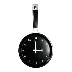 "Kito - 14"" Black Frying Pan Analog Quartz Wall Clock with Utensils as Arrows - This gorgeous 14"" Black Frying Pan Analog Quartz Wall Clock with Utensils as Arrows has the finest details and highest quality you will find anywhere! 14"" Black Frying Pan Analog Quartz Wall Clock with Utensils as Arrows is truly remarkable."