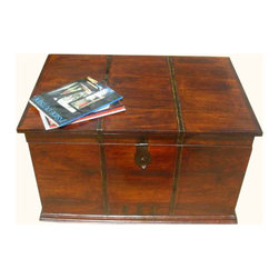 Iron Work Wood Storage Trunk Box Coffee Sofa Table - Solid Hardwood Trunk/Coffee Table is both attractive and functional.