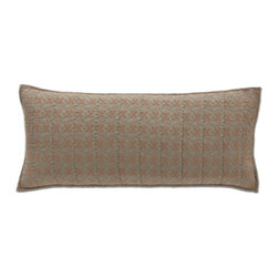 Pine Cone Hill - cross-stitch slate pillow (15x35) - This hand-stitched, showstopping pillow, inspired by old-school needlepoint, comes in two regal color combos on midweight cotton.��This item comes in��slate.��This item size is��35w 15h.