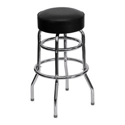 Flash Furniture - Flash Furniture Restaurant Seating Metal Restaurant Barstools X-GG-001-D-UX - This heavy duty commercial metal bar stool is ideal for Restaurants, Hotels, Bars, Pool Halls, Lounges, and in the Home. The tubular foot rest not only supports your feet, but acts as an additional reinforcement that helps secure the legs. This stool is also easy to clean with the its durable black vinyl upholstered seat. [XU-D-100-GG]