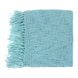 None - Woven Wake Acrylic and Wool Throw Blanket - Snuggle up on a cold winter's day with one of these modern woven-wool throw blankets. You will experience ultimate warmth and coziness with this vibrant decorative throw. It is made of acrylic and wood and features a spa-blue solid pattern.