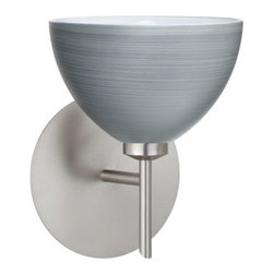 Besa Lighting - Brella Titan Satin Nickel Sconce - - Brella has a classical bell shape that complements aesthetic, while also built for optimal illumination. Our Titan glass is a soft off-white cased glass that is handcrafted with spiraling strokes of silver, emphasizing the subtle brush pattern. The silvery rippled design is subdued and harmonious. Unlit, it appears as simply a textured surface like spun silk, but when lit the texture comes alive. The smooth satin finish on the clear outer layer is a result of an extensive etching process, with the texture of the subtle brushing. This blown glass is handcrafted by a skilled artisan, utilizing century-old techniques passed down from generation to generation. The mini sconce is equipped with a decorative lamp holder mounted to either a low profile round or square canopy. These stylish and functional luminaries are offered in a beautiful Satin Nickel finish.  - Bulbs included: Yes  - Canopy/Fitter Height: 5-inches  - Canopy/Fitter Diameter/Width: 5-inches  - Height from center: 5.5  - : NOTICE: Due to the artistic nature of art glass, each piece is uniquely beautiful and may all differ slightly if ordering in multiples. Some glass decors may have a different appearance when illuminated. Many of our glasses are handmade and will have variances in their decors. Color, patterning, air bubbles and vibrancy of the d�cor may also appear differently when the fixture is lit and unlit. Besa Lighting - 1SW-4679TN-SN