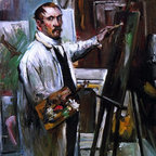 """Lovis Corinth Self Portrait in the Studio - 16"""" x 20"""" Premium Archival Print - 16"""" x 20"""" Lovis Corinth Self Portrait in the Studio premium archival print reproduced to meet museum quality standards. Our museum quality archival prints are produced using high-precision print technology for a more accurate reproduction printed on high quality, heavyweight matte presentation paper with fade-resistant, archival inks. Our progressive business model allows us to offer works of art to you at the best wholesale pricing, significantly less than art gallery prices, affordable to all. This line of artwork is produced with extra white border space (if you choose to have it framed, for your framer to work with to frame properly or utilize a larger mat and/or frame).  We present a comprehensive collection of exceptional art reproductions byLovis Corinth."""