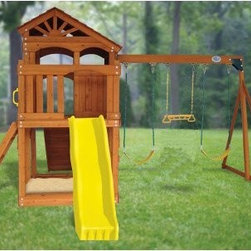 Swing Town Timber Valley Playset - For a swing and playset that will keep the kids occupied all summer long we recommend the Swing Town Timber Valley Playset. Sturdy and beautiful cedar construction means no rot or decay and the swingset features 4-by-6 beams and 3-by-4 uprights. Three-position swings provide varying heights. A sandbox means even more creative play. A bright yellow slide and rock wall for climbing complete this set. Assembly will take a couple of hours. Safety handles and heavy-duty hardware will give you peace of mind. With all these activities the physical and imaginative fun never ends on this set.