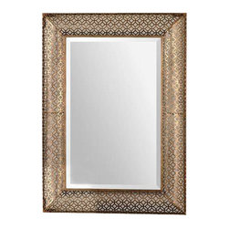 Uttermost Ariston Stamped Metal Mirror - Stamped metal shaped in a curve profile finished in a heavily antiqued gold leaf. Frame is made of stamped metal featuring an open design that allows wall color to show thru. Frame has a curved profile and is finished in heavily antiqued gold leaf. Mirror is beveled. May be hung horizontal or vertical.