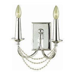 """AF Lighting - AF Lighting 7703-2W Candice Olson """"Shelby"""" Two-Light Wall Sconce with Clear Bead - AF Lighting 7703-2W Candice Olson """"Shelby"""" Two-Light Wall Sconce with Clear Bead Accents, Finished in ChromeAF Lighting 7703-2W Features:"""