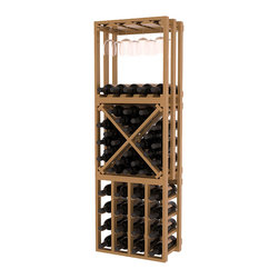 Lattice Stacking Cube - 3 Piece Set in Pine with Oak Stain + Satin Finish - Designed to stack one on top of the other for space-saving wine storage our stacking cubes are ideal for an expanding collection. This 3-piece set comes with (1) X-Cube, (1) Stemware Cube and (1) 4 Column Cubicle. Use as a stand alone rack in your kitchen or living space or pair with more stacking cubes as your wine collection grows.