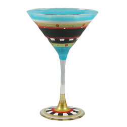 Golden Hill Studio - Mosaic Chalk Martini Glass - Painting the town red tonight is so … passé. Try painting your happy hour in a full spectrum of color, with these spectacular martini glasses, each one hand-painted in colors of aqua, crimson, gold and black.
