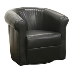 Wholesale Interiors - Baxton Studio Julian Faux Leather Club Chair with Swivel in Dark Brown - Handsome in a den, home office, or corporate setting, this black faux leather club chair is a stylish and affordable way to furnish your space. It is constructed with a frame made from plywood and MDP with dense foam cushioning and black faux leather. The circular metal base with non-marking feet allows the chair the ability to effortlessly swivel 360 degrees. This leather club chair is fully assembled upon delivery.