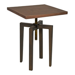Kathy Kuo Home - James Industrial Loft Metal Wood Adjustable Height Side Table - Rich, dark walnut serves as a luxurious, square top for this Industrial Loft end table. Four matte black metal legs echo the angular shape of the wood. The rusted, oversized screw that joins the pieces allows for over eleven inches of adjustable height, creating the ideal space for serving refreshments, working on a laptop or displaying family heirlooms.