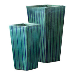 "Campana - 16"" x 31"" Tall Ceramic Planter Set of Two - The Landmark Collection of ceramic planters are made individually by hand, with the Earth's most durable iron rich clay. Amazedly, each high quality ceramic planter is high fired in large wood burning kilns for 2 days. A process that makes them impervious to most weather conditions. For design purposes, they are excellent in groupings of two or three. A good choice for outdoor landscape design or unique home settings."