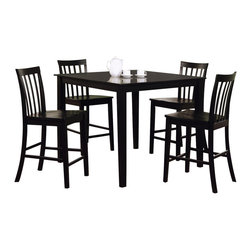 Adarn Inc - Casual  Black Wood Ashland 5 PC Counter Height Square Table Chair Dining Set - This lovely counter height dining set will be the perfect addition to your casual contemporary home. The simple set features a smooth square counter height table, with sleek square tapered legs. The four matching chairs have vertically slatted backs, contoured wooden seats, and square tapered legs for a sophisticated look. This dining set is available in a Black finish to suit your taste and complement your home decor. Add this set to your home for a warm and inviting dining and entertainment room that friends and family will love.