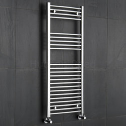 Hudson Reed - Hudson Reed Chrome Curved Heated Towel Radiator Rail 47.25 x 19.75 - This tall, curved Ladder Style Heated Towel Rail, with a high quality chrome finish, produces a heat output of 372 Watts (1,271 BTUs), enough to keep your towels warm and heat a small bathroom or cloakroom.Supplied complete with a fixing pack for wall mounting, this minimalist towel rail has 23 curved horizontal rungs and provides a functional and stylish centrepiece to any contemporary setting. This product is from the Kudox Premium range and has 0.86 bars which give both a higher output and improved aesthetics. Manufactured by an ISO 9001 registered company.Suitable for closed loop heating systems, the 47.25 x 19.75 Kudox Heated Bathroom Towel Rail connects to your heating system via the radiator valves included (please choose straight or angled valves). Kudox Chrome Curved Heated Bathroom Towel Radiator Rail 47.25 x 19.75 Details    Dimensions: (H x W x D) 47.25 (1200mm) x 19.75 (500mm) x 3 (75mm) Output: 372 Watts (1,271 BTUs) Number of cross-bars: 23 with a thickness of 0.86 (22mm), divided into 3 sections of 4, 5, 14 Pipe Centres: 18.1 (460mm) Fixing Pack Included Suitable for bathroom, cloakroom, kitchen etc. Expertly plated with high quality 62.5 micron chrome on copper plated mild steel, with swagged oven brazed joints. Tested to BS EN442 - 140 psi maximum working pressure 5 Year Guarantee (12 months for surface finish) Please note: Radiator valves are included, please choose either straight or angled radiator valves.  Buy now, to transform your bathroom, at an affordable price. Please Note: Our radiators are designed for forced circulation closed loop systems only. They are not compatible with open loop, gravity hot water or steam systems.