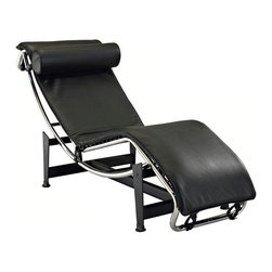 Modway Furniture - Modway Charles Leather Chaise in Black - Leather Chaise in Black belongs to Charles Collection by Modway The Charles Chaise Lounge offers the ultimate relaxation experience. Its sleek lines definitely make a statement in any room. This lounger features a full range of reclining positions for you to enjoy, providing you with long lasting comfort and quality. The Charles chaise makes a great addition to your modern living style. Set Includes: One - Le Corbusier Chaise Lounge Chair Chaise (1)
