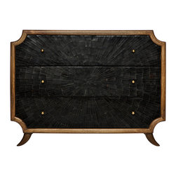 Kathy Kuo Home - Radiant Burst Hollywood Regency Black Horn Inlay Brown Dresser - There are pieces of great design and then there are pieces of art.  This three drawer chest of drawers counts as both, inlaid with a burst formation of natural horn framed by natural stained wood.  Deco, Asian, and Hollywood Regency fans will all find this an exceptional, covetable piece.