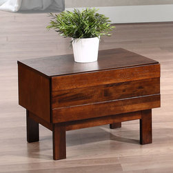 None - Kaylen 1-drawer Nightstand - Add a contemporary touch to your living space with this Kaylen one-drawer nightstand. A lovely BM walnut finish highlights this wooden nightstand.