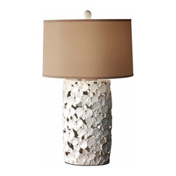 Lighting Trends for 2014 - This lamp features a ceramic base with overlapping flowers. In an openwork style, these white flowers create a softer looking base for the lamp and shade. The subtle sand color in the shade complements the off white in the flowers. Organic, this lamp is perfect to add to a space in need of a little flowing energy.