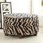 Kinfine - Animal Print Storage Round Ottoman - Add wild flair to your living space with this animal print ottoman.This round ottoman features a unique tan and black tiger-striped design that is sure to transform any room.