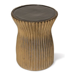Seasonal Living Ridged Ceramic Garden Stool and Table - I love the texture in the base of this garden stool and the fact that you can mix and match many colors for the desired effect.