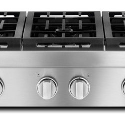"JGCP436WP Jenn-Air 36"" Pro-Style® Gas Range Top - This commercial-style cooktop features oversized stainless steel knobs with diamond-etching and heavy-duty grates and is perfect for everything from wok cooking to flash frying."