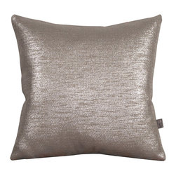 Howard Elliott - Glam Pewter 20 x 20 Pillows - Change up color themes or add pop to a simple sofa or bedding display by piling up the pillows in a multitude of colors, textures and patterns. This Glam Pillow features a Linen-Like texture in a soothing grey color with a metallic finish