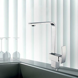Kitchen Sink Faucets - Contemporary Single Handle Solid Brass Kitchen Faucet - Chrome Finish--FaucetSuperDeal.com