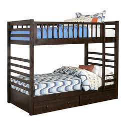 Homelegance - B33FE-1T-Homelegance Dreamland Bunk Bed in Rich Cherry - Twin over Full - Clean lines are accented in a rich cherry finish that highlights this classic contemporary bunk offering. The Twin over Twin and Twin over Full configurations allow for the perfect placement in your children's bedroom. Storage boxes (two per package) are optional.