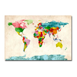 Trademark Fine Art - Michael Tompsett 'Watercolor World Map' Canvas Art - Artist: Michael Tompsett Title: Watercolor World Map Product Type: Gallery-wrapped canvas art