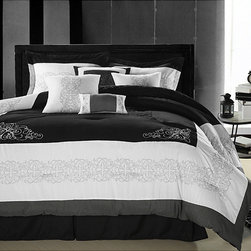 None - Florence Black/White Queen-size Oversized 8-piece Comforter Set - Give your bed a luxurious,designer feel with this queen-size,eight-piece comforter set. With its black-and-white swirling pattern,this set boasts a modern feel and will do wonderfully with contemporary decor. The set includes complimentary pieces.
