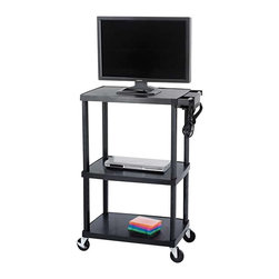 "Safco - Safco Plastic AV Adjustable TV Cart in Black - Safco - TV Carts - 8944BL - Have durability and function with this Plastic Adjustable AV Cart. Made out of heavy gauge plastic this cart is ready to take center stage whenever it is needed. It's sturdy frame is ideal for holding monitors up to 27"". height adjusts at 27"" 42"" 48"" and 54"". Three outlet UL approved mini surge protector with power switch. Four swivel casters (2 locking)."