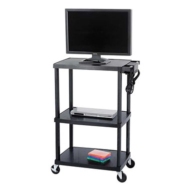 """Safco - Safco Plastic AV Adjustable TV Cart in Black - Safco - TV Carts - 8944BL - Have durability and function with this Plastic Adjustable AV Cart. Made out of heavy gauge plastic this cart is ready to take center stage whenever it is needed. It's sturdy frame is ideal for holding monitors up to 27"""". height adjusts at 27"""" 42"""" 48"""" and 54"""". Three outlet UL approved mini surge protector with power switch. Four swivel casters (2 locking)."""