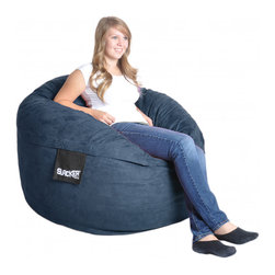 None - Navy Blue 4-foot Microfiber and Foam Bean Bag - This navy blue four-foot foam bean bag can be laid down as a reclining bed or sat in as a chair. It is filled with Durafoam, and it has a removable microfiber outer cover, which is machine washable. It weighs a total of forty-five pounds.