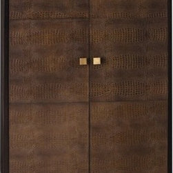 Elle Chocolate Leather Cabinet by Arteriors Home - This luxe cabinet has doors that are covered in croc embossed leather, giving it an amazing texture. Its lines are contemporary, its square pulls add a bit of metal, and on top of all this style, it's a wonderful storage solution.