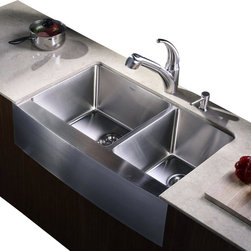 "Kraus - Kraus 33"" Farmhouse Double Bowl Stainless Steel Sink Combo Set - Add an elegant touch to your kitchen with unique Kraus kitchen combo"