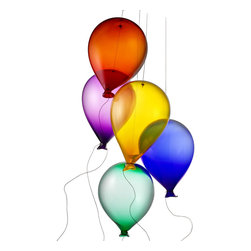 Modern Glass And Metal Handmade Glass Balloons - Set Of 5 - Set these vibrant hot glass balloons aloft and they'll create a striking, festive atmosphere. Designed and hand blown by Robert Kuster, the balloons will mesmerize your guests as they hang from barely visible thin metal wires. Choose from five jewel-tone colors: orange, yellow, green, blue or purple. Handmade in the USA.