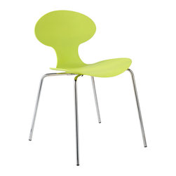Euro Style - Becky Side Chair (Set Of 4) - Apple Green/Chrome - The one-piece seat and back is sculpted to fit the human frame.  Support is in all the right places.  The natural curves are as soft as they are inviting.  Four different colors all on a fully-welded steel base.