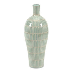 """IMAX - Asher Small Vase - The soft shade of aqua contrasted with hand marked ivory stripes on this small ceramic vase is accented by a simple shape that has a subtle elegance and bold modernity. Item Dimensions: (14.75""""h x 5.75""""w x 5.75"""")"""
